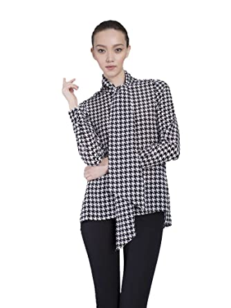 00323d597e The Cassie Houndstooth Pussy Bow Blouse at Amazon Women's Clothing store: