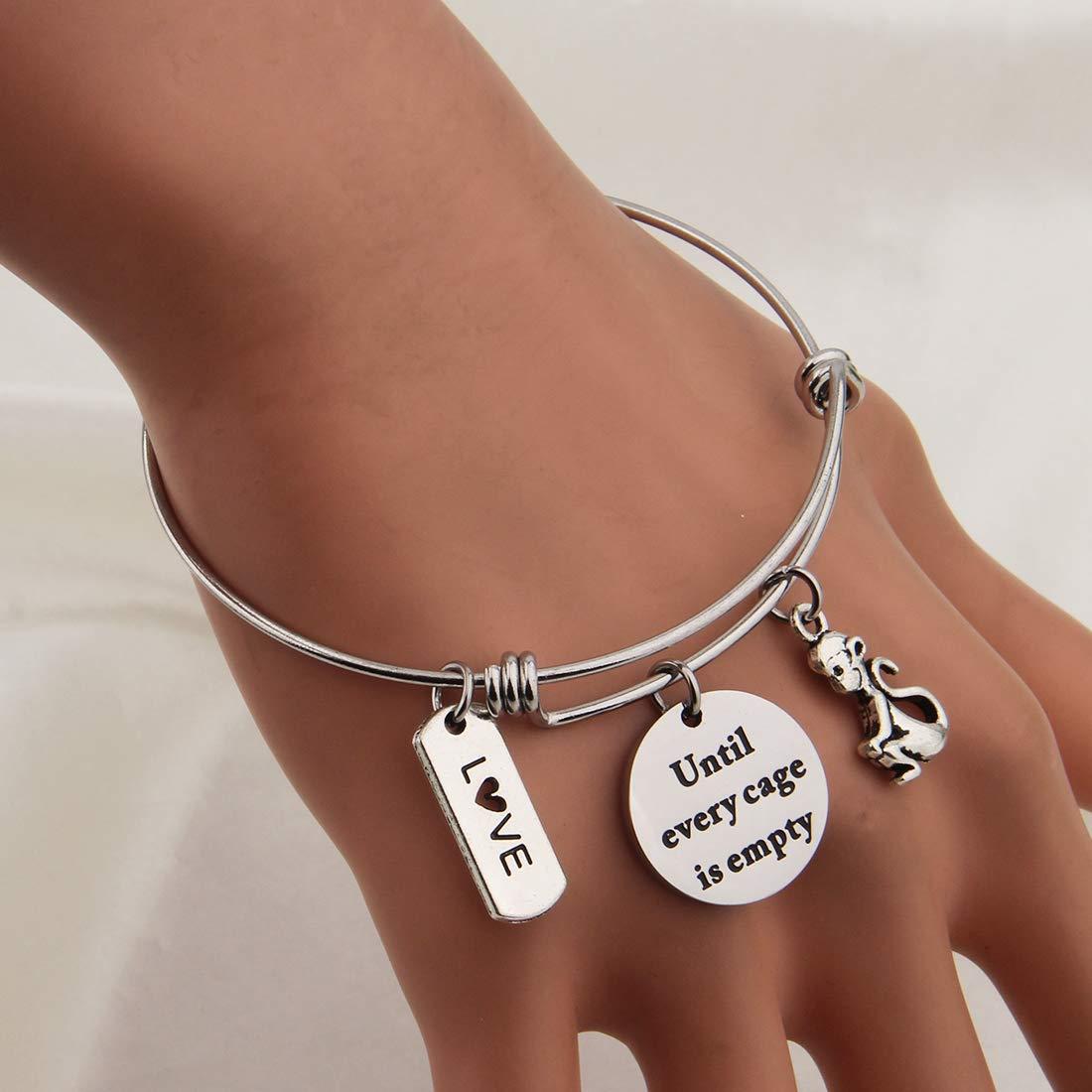 KUIYAI Until Every Cage is Empty Bracelet Animal Rescue Jewelry