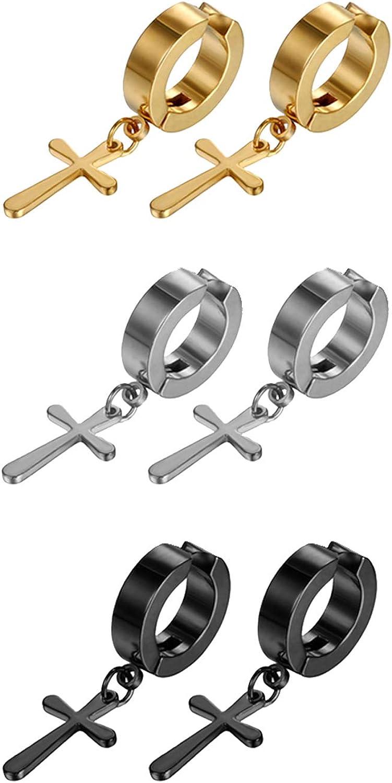 Aroncent 6 Pairs Stainless Steel Cross Dangle Huggie Hinged Hoop Earrings,Piercing Christmas Cross Huggie Stud Earrings Gift for Men Women Wedding Valentine's Day