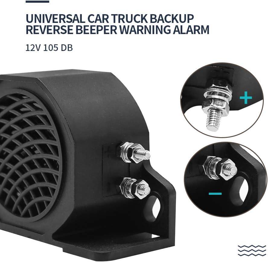 Aynaxcol Universal Car Truck Backup Reverse Beeper Warning Alarm 12V 105 DB Vehicle Horn Heavy-Duty Equipment Black