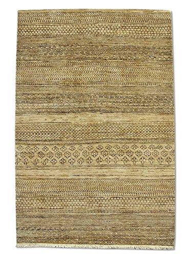 Pak Persian Rugs Modern Chobi Handmade Gabbeh Rug, Wool, Beige/Ivory, 3' 3