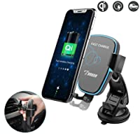 Qi Wireless Car Charger Mount, Funuse Gravity Car Mount Air Vent Phone Holder, Fast Charge for Samsung Galaxy S8/S7/S6/S7 Edge, Note 8/5, Standard Charge for iPhone X, 8/8 Plus, Qi Enabled Devices