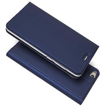 sinogoods para Huawei P8 Lite 2017 Funda, Cuero De La PU Magnético Capirotazo Billetera Apoyo Bumper Protector Cover Funda Carcasa Case - Azul