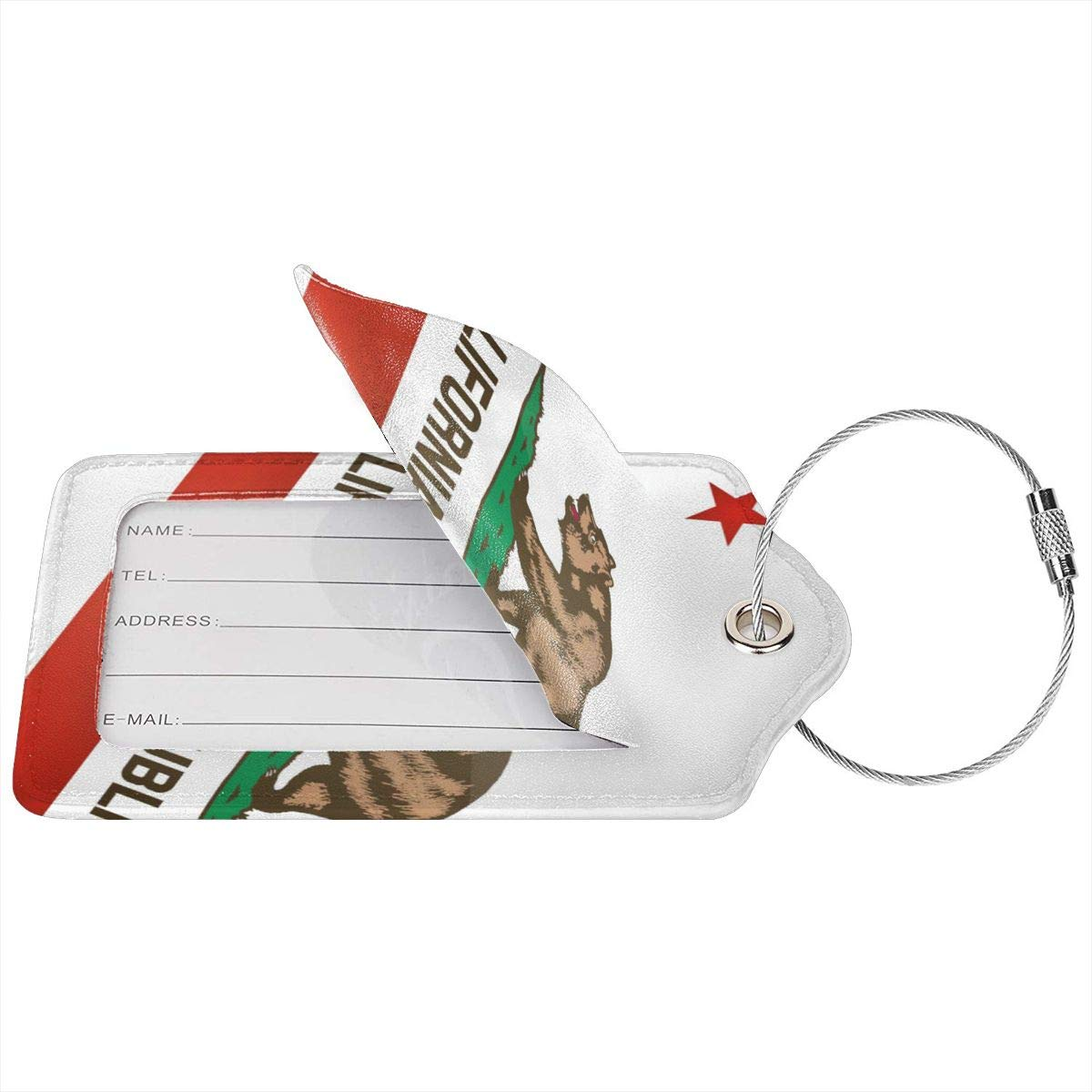 California Bear Travel Luggage Tags With Full Privacy Cover Leather Case And Stainless Steel Loop