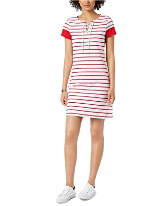 0b2006efbe Tommy Hilfiger Women s Striped Lace-Up Dress at Amazon Women s Clothing  store