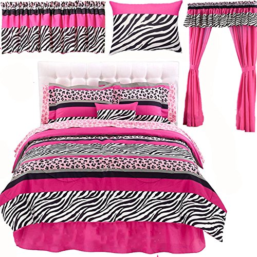 Pink And Black Zebra Print Bedding And Curtains