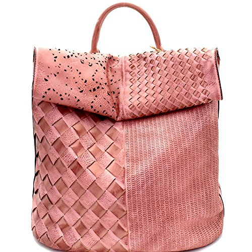 New! Le Miel Woven Rustic Roll-Up Flap Backpack- 5 Colors(Blush)