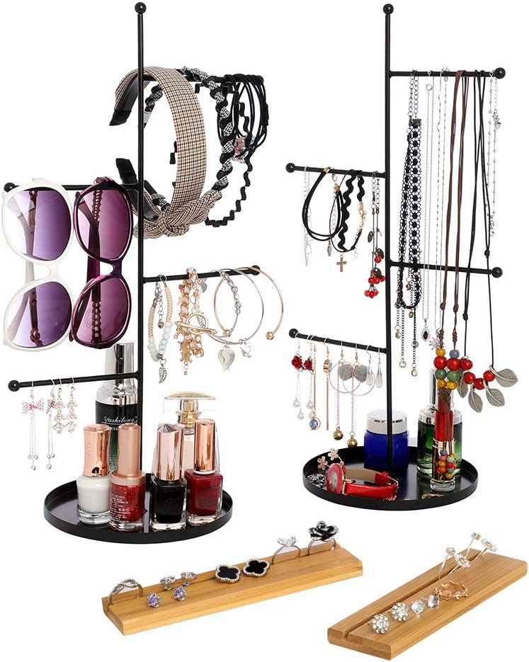 Furniture Life 4 Tier Hanging Jewelry Organizer and Bamboo Ring Storage, Jewelry Display Stand Tree with Round Tray to Organize Necklaces, Bracelets, Earrings, Rings, Watches Two Packs