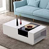 Black and White Glass Coffee Table LAGRIMA Modern Coffee Table w/Storage, Living Room Table with Rectangle Design, White & Black, MDF & Glass