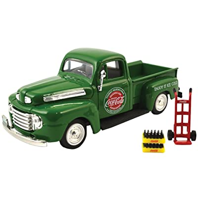 1948 Ford Pickup Truck Coca Cola Green with Coke Bottle Cases and Hand Cart 1/43 by Motorcity Classics 467431: Toys & Games