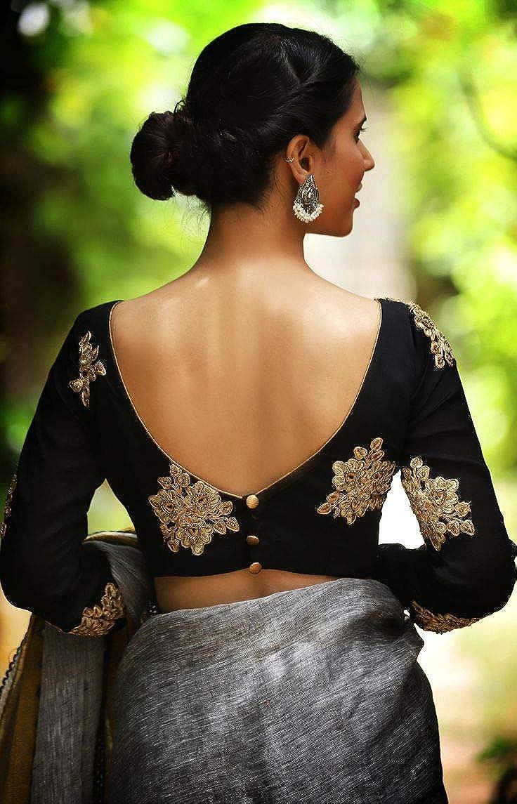Womens Taffeta Silk Stitched Embroidery work Saree Blouse