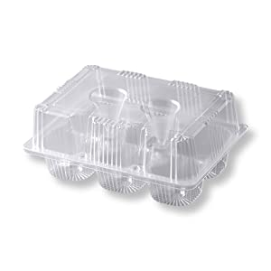 (25 Count) Tekbotic Commercial Bakery 6-Pack Disposable High Dome Hinged Clear OPS Plastic Cupcake/Muffin Containers