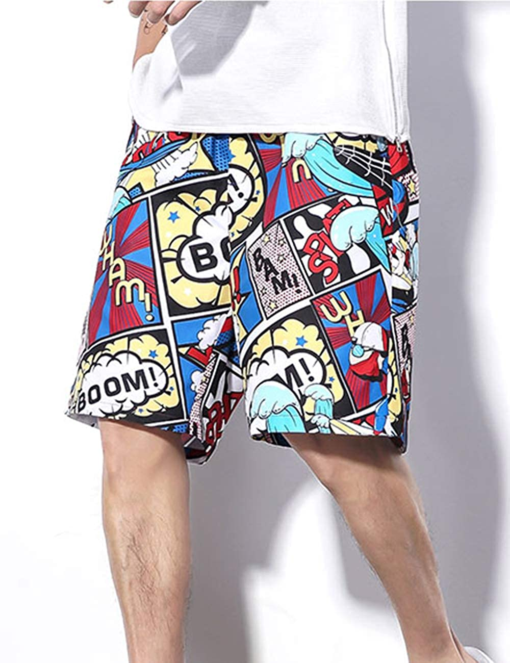 besbomig Mens Beach Shorts Beach Casual Baggy Pants with Pockets Printed Trouser