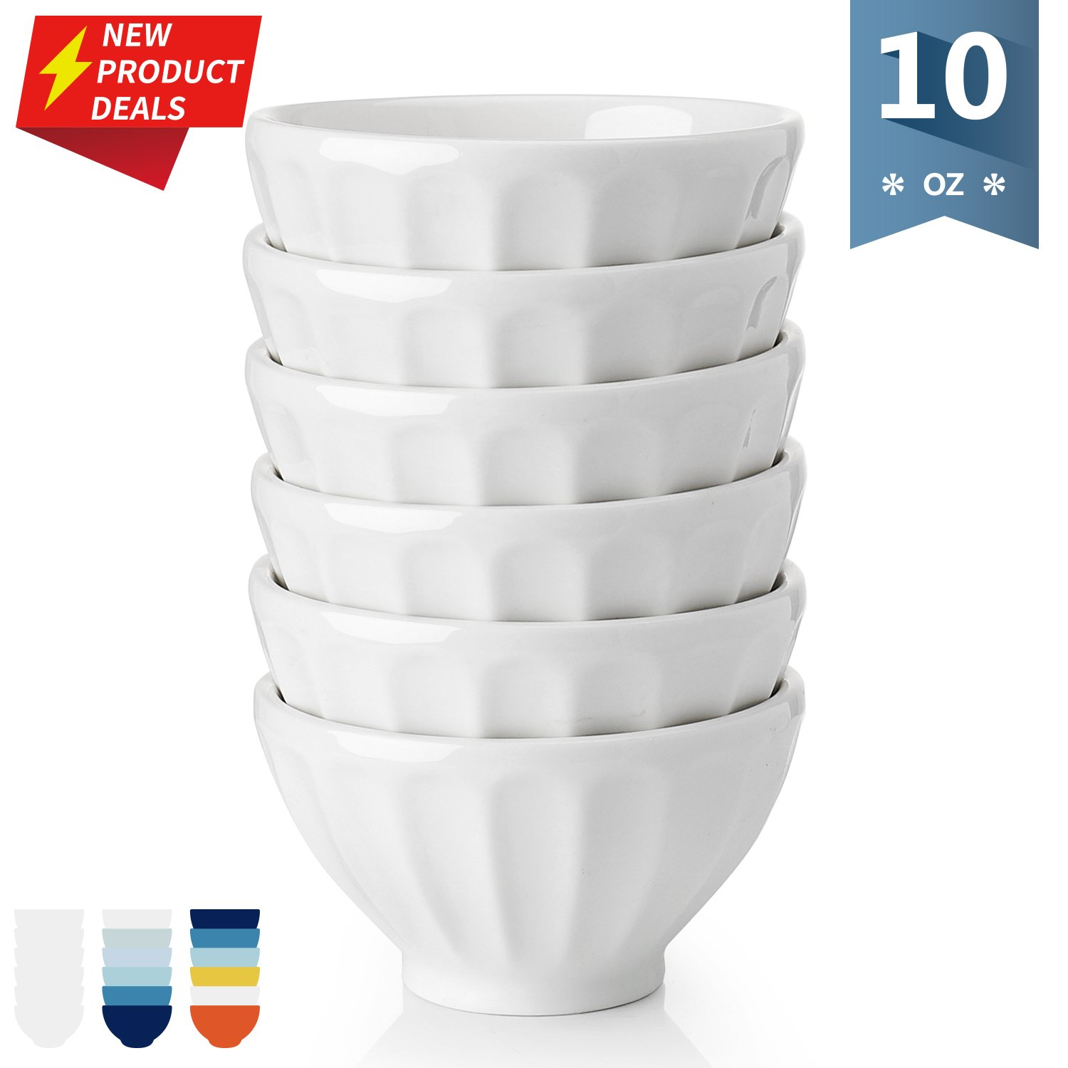 [Flash Deal]Sweese 1126 Porcelain Fluted Small Bowls - 10 Ounce for Ice Cream, Dessert, Small Side Dishes - Set of 6, White