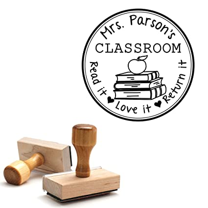 Wooden Handle Stamp From The Library Of Teacher Gift Customizable Teacher Stamp This Belongs To Labels Personalized Circle Classroom Stamp Wooden