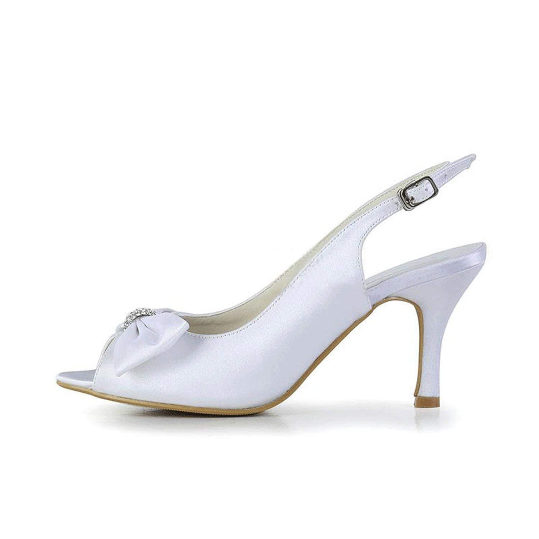 Qiusa Mädchen Slingback Knot Knot Knot Satin Braut Hochzeit Sandalen Kleid Schuhe (Farbe   Weiß-7.5cm Heel, Größe   3 UK)  a18cce