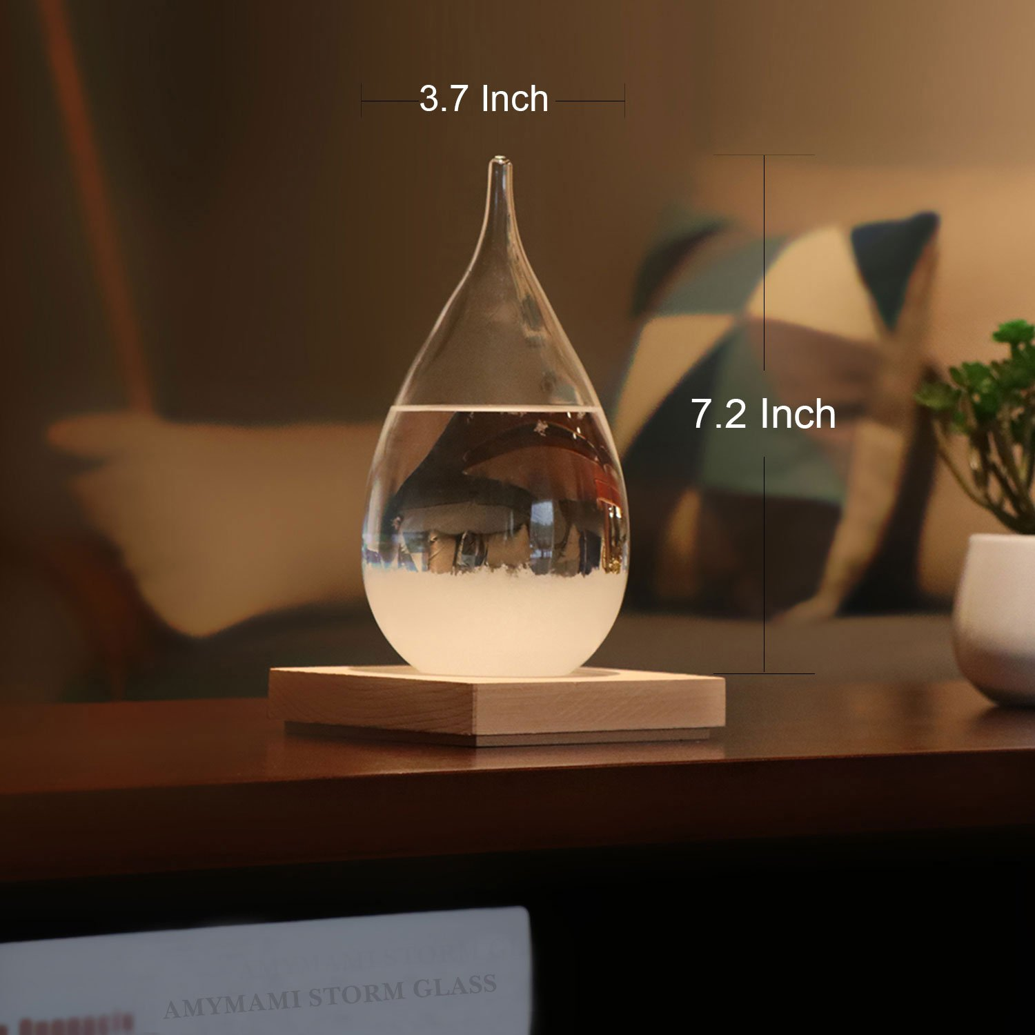 Amymami Storm Glass Weather Predictor, Christmas Decorations Gift,Creative Stylish Weather Station Forecaster Storm Glass Bottles Barometer with Wood Base, 6.8X 3.4X 3.4 inches by Amymami (Image #6)