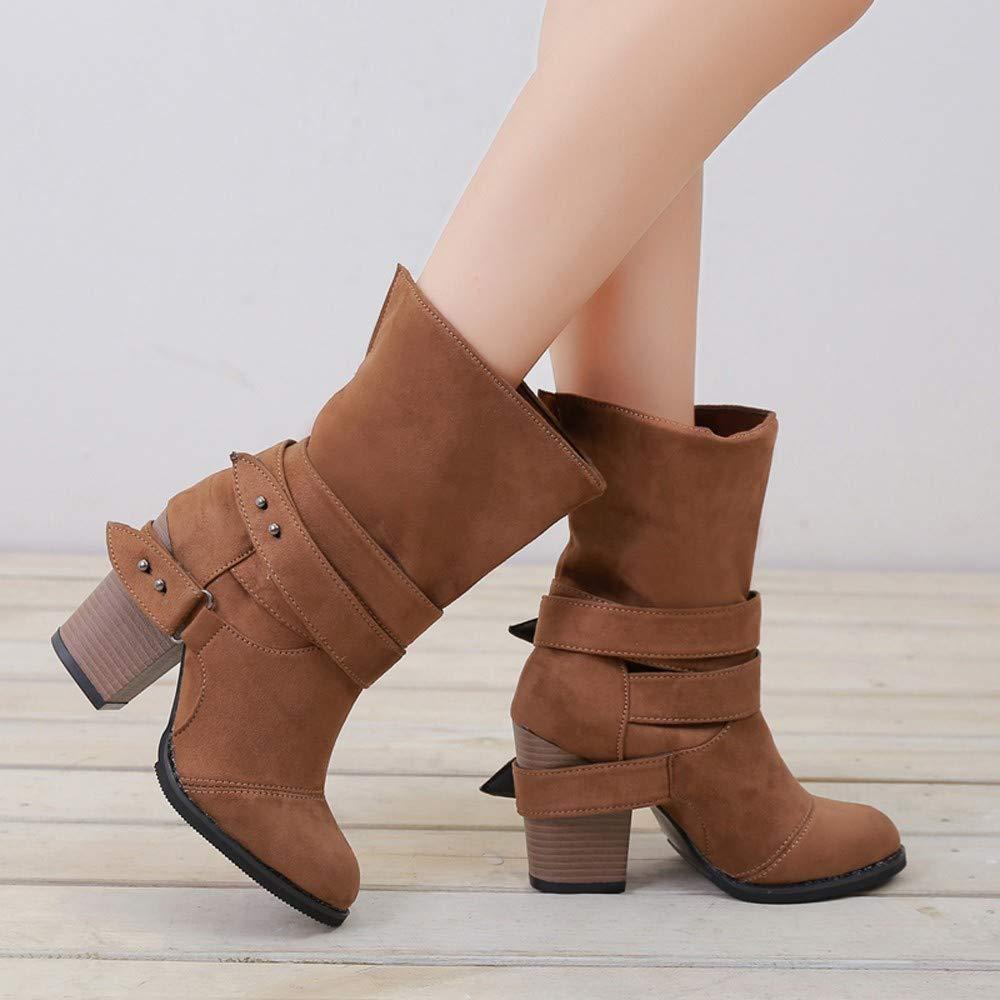 Botines para Mujer,ZARLLE Mujer Botas Zapatos De Oto/ñO Invierno Botines De Tac/óN Cl/áSico Hebilla De Cintur/óN Botas Altura Aumentando Zapatos