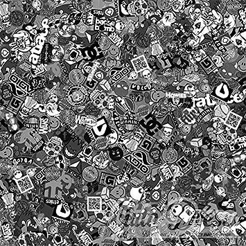 Alle Designs Alle Größen Stickerbomb Auto Folien Glänzend Oder Matt Marken Sticker Bomb Logos Jdm Aufkleber 500x150cm Skate Schwarz Weiß Glänzend Küche Haushalt