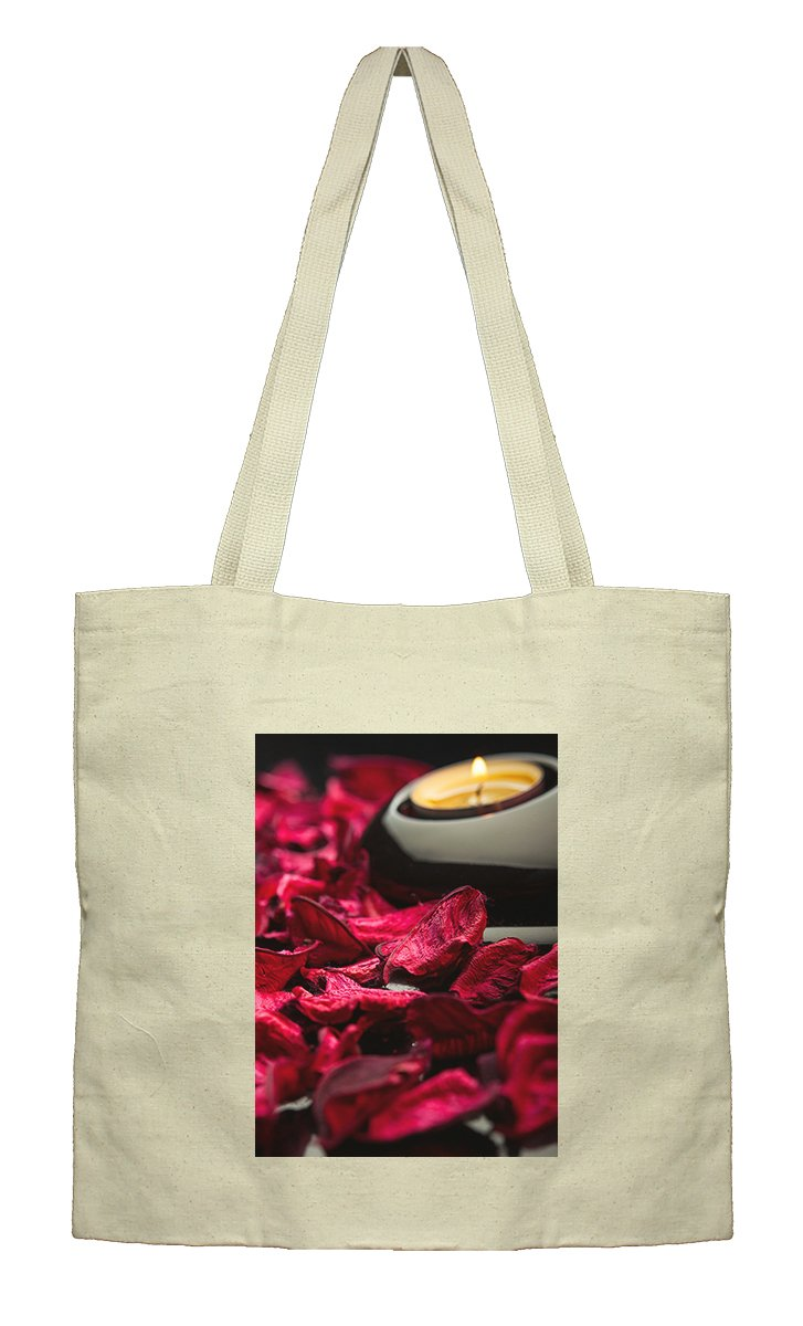 Flat Market Canvas Bag Spa Background Petals Stones And Candle By Style In Print