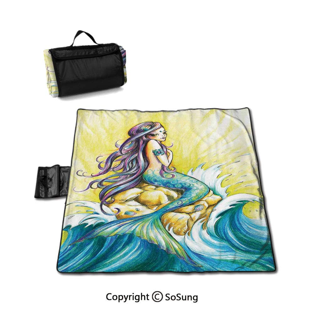 Mermaid Waterproof Outdoor Picnic Blanket,Magical Mermaid Sitting on Rock Sunny Day Colored Pencil Drawing Effect Sandproof & Waterproof Picnic Mat Tote for Camping Hiking Grass Travelling,Yellow Blue by SoSung