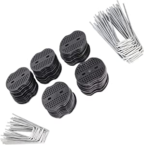 50Pcs XINBOUS Galvanized Garden Staples (25Pcs 4 inch + 25Pcs 6 inch) for Weed Barrier/Landscape Fabric Netting Artificial Grass with 50Pcs Plastic Gasket Heavy Duty Garden Securing Pegs Pins Kit