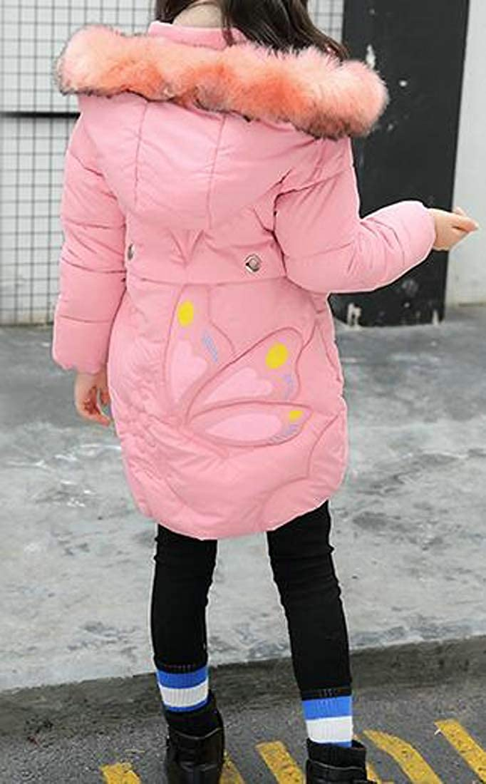 Pivaconis Girls Chic Hoodie Down Coat Outwear Cotton-Padded Parkas Jackets