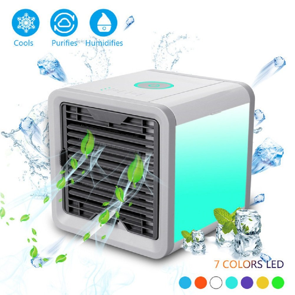 PONOBO Personal Space Air Coolers 4 in 1 USB Mini Portable Air Conditioner Cooling Humidifying and Purifying Air and 7 Colors LED Night Light 6.5 inches Desktop Cooling Fan for Office Home Outdoor