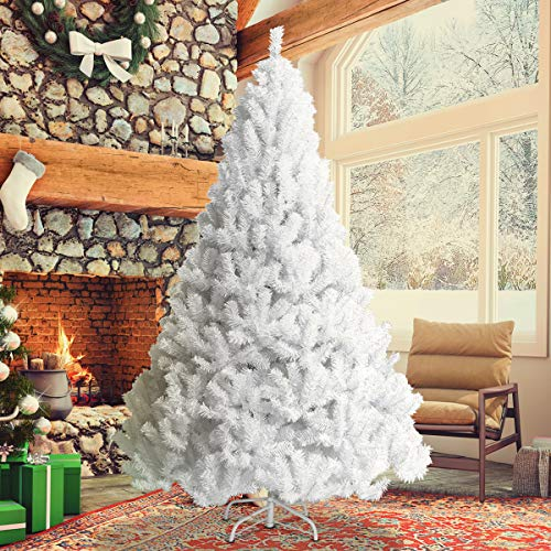 Goplus Artificial Christmas Tree Xmas Pine Tree with Solid Metal Legs Perfect for Indoor and Outdoor Holiday Decoration (7 feet, White) (Best Christmas Trees For Allergies)