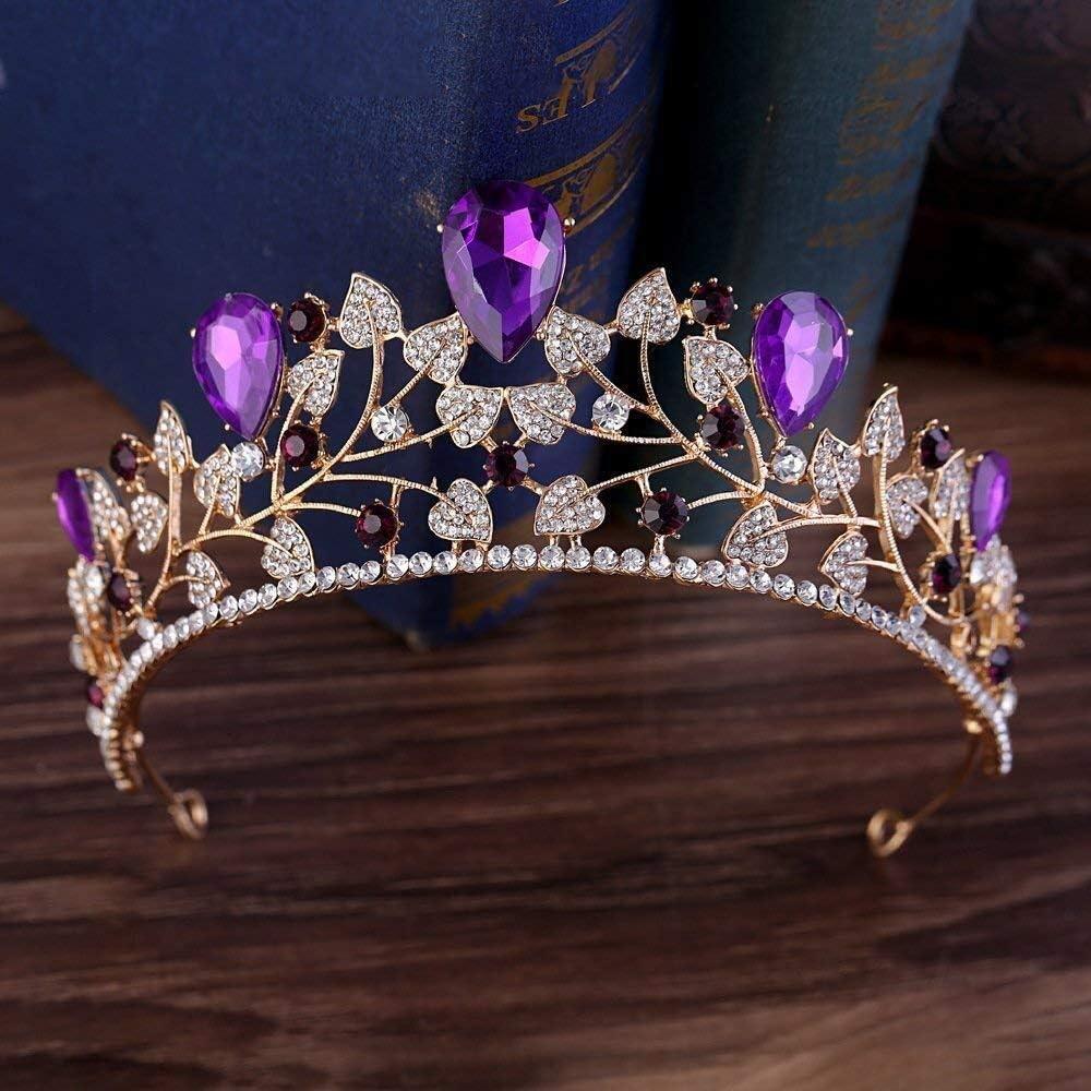 Tiaras Diamantes de imitación de la Boda del Tocado de los Accesorios del Pelo de la Hoja Corona de la Novia púrpura zm0329
