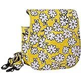 Mudder Lovely Flower Denim Fabric Camera Bag Case with Shoulder Strap for Fujifilm Instax Mini 8 Fuji Film Camera (Yellow)