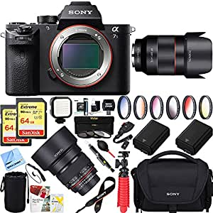 Sony a7S II Full-frame Mirrorless Interchangeable Lens 42.4MP Camera Body Only + 50mm & 85mm f1.4 Dual Rokinon Prime Lens Bundle