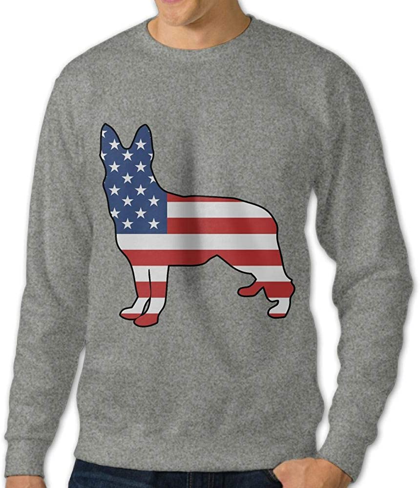 LLiYing-D German Shepherd American Flag Adult Mens Casual Long Sleeve Sweater T-Shirts
