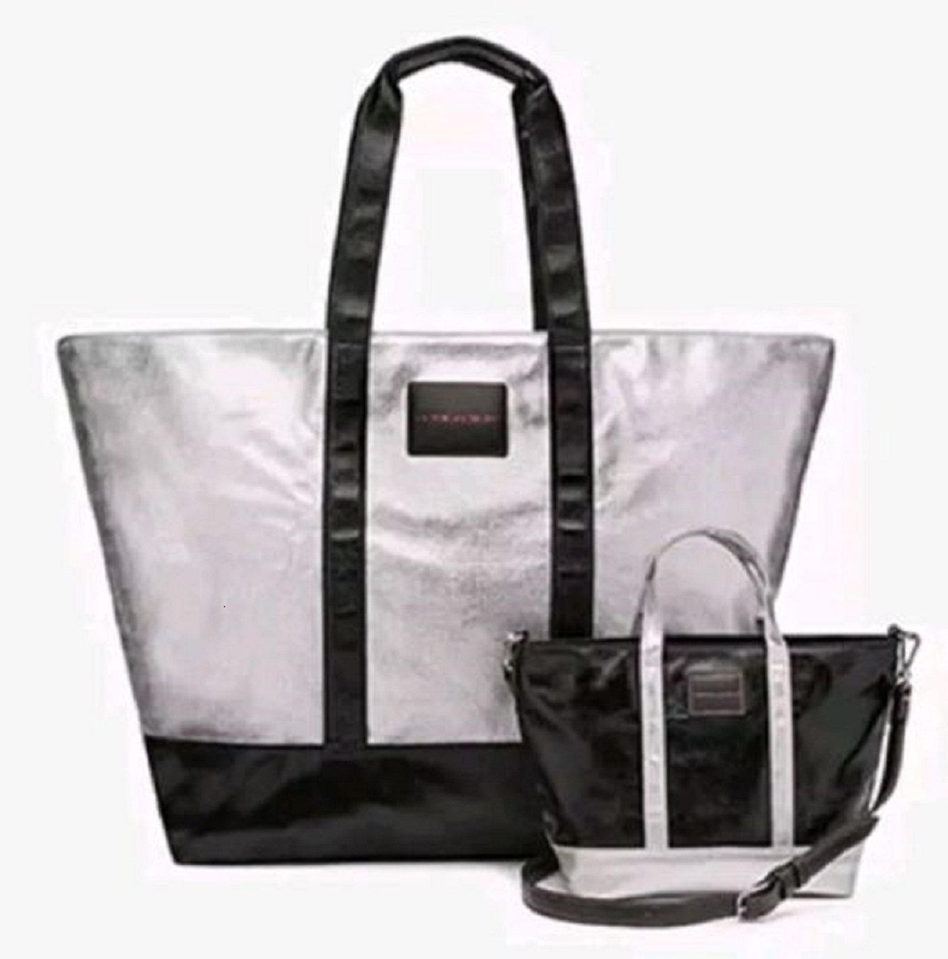 Victoria's Secret Limed Edition Metallic Silver Weekender Tote Bag & Crossbody Duo