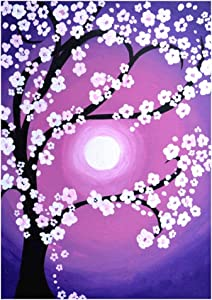 5D Square Diamond Painting Full Drill,Diamond DIY Kits,Cherry Blossoms Art DIY Rhinestone Embroidery Cross Stitch Kits Supply Arts Craft Canvas Wall Decor Number Stickers Home Decor 12x16 inches