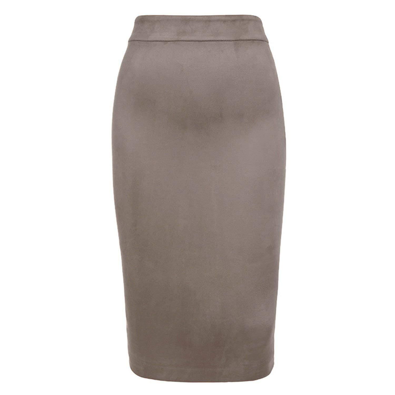 Grey mamamoo Suede Skirt High Waist Faux Leather Skirt Winter Skirts Womens TwoWay Zipper Through Pencil Skirt