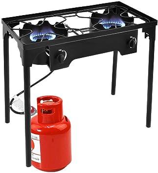 Goplus Hornillo de gas portátil de alta presión con 2 quemadores 150,000BTU y patas ajustables de altura ajustable con regulador ajustable y soporte