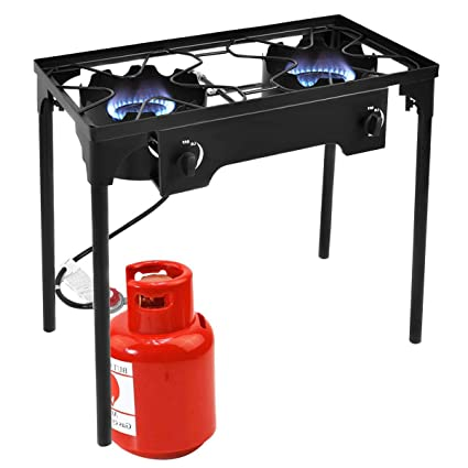 Goplus Outdoor Stove High Pressure Propane Burner 150,000BTU Portable Gas Cooker Height Adjustable Legs Detachable