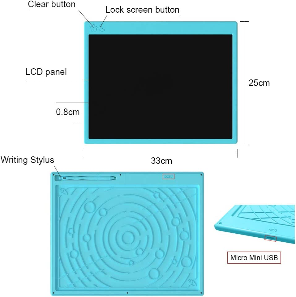 LCD Writing Tablet Kyansin 12 Inch Colorful Digital Ewriter Pad Electronic Drawing Writing Tablet Erasable Portable Graffiti Board Memo Notepad for Kids Learning Birthday Gifts Blue