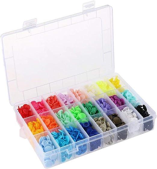 FiedFikt 408 botones de plástico con broche a presión, sin costuras T5 con estuche de almacenamiento organizador para baberos, pañales, manualidades, costura, notas, cierres, broches: Amazon.es: Hogar
