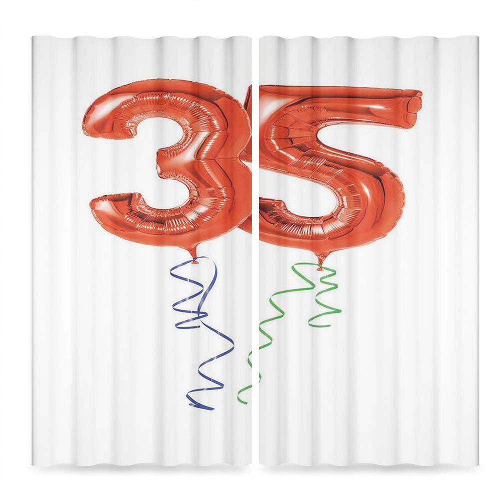 35th Birthday Decorations Small Window Blackout Curtains,Vivid Colored Balloons Flying with Curly Ribbons 35 Years Old,for Bedroom Living Dining Room Kids Youth Room, 2 Panel Set, 28W X 39L Inches