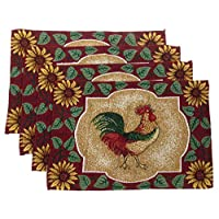 """Hickoryville Placemat Bundle - Set of 4 Rooster Themed Placemats 13"""" x 19"""" (Red, Green & White Rooster)"""
