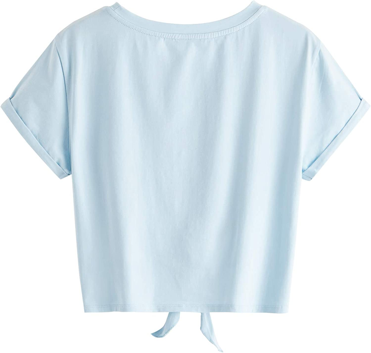 Romwe Womens Knot Front Cuffed Sleeve Striped Crop Top Tee T-Shirt