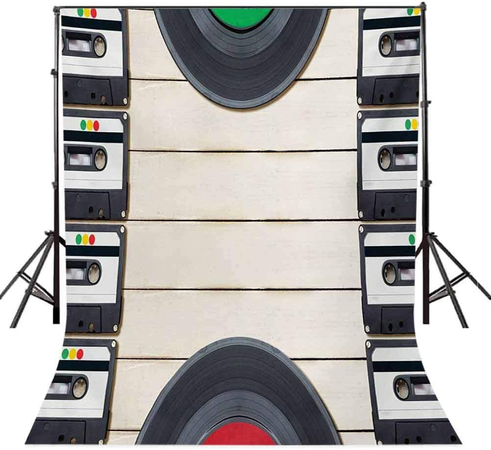 Indie 10x15 FT Photo Backdrops,Top View of Audio Cassettes Gramophone Records Old School Retro Music Theme Background for Baby Shower Bridal Wedding Studio Photography Pictures Black White Cream