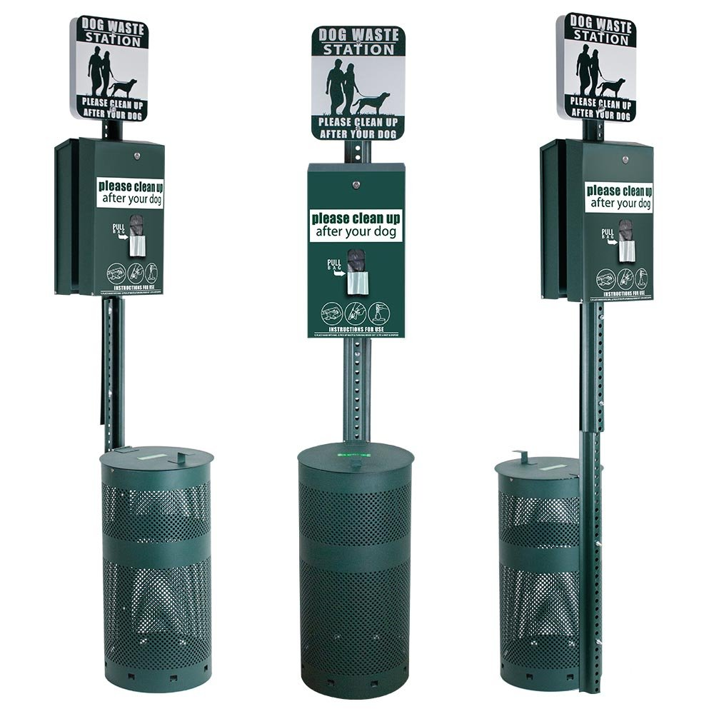 Dog Waste Station - DOUBLE DISPENSER - Everything Included - FREE 800 waste bags and 50 can liners