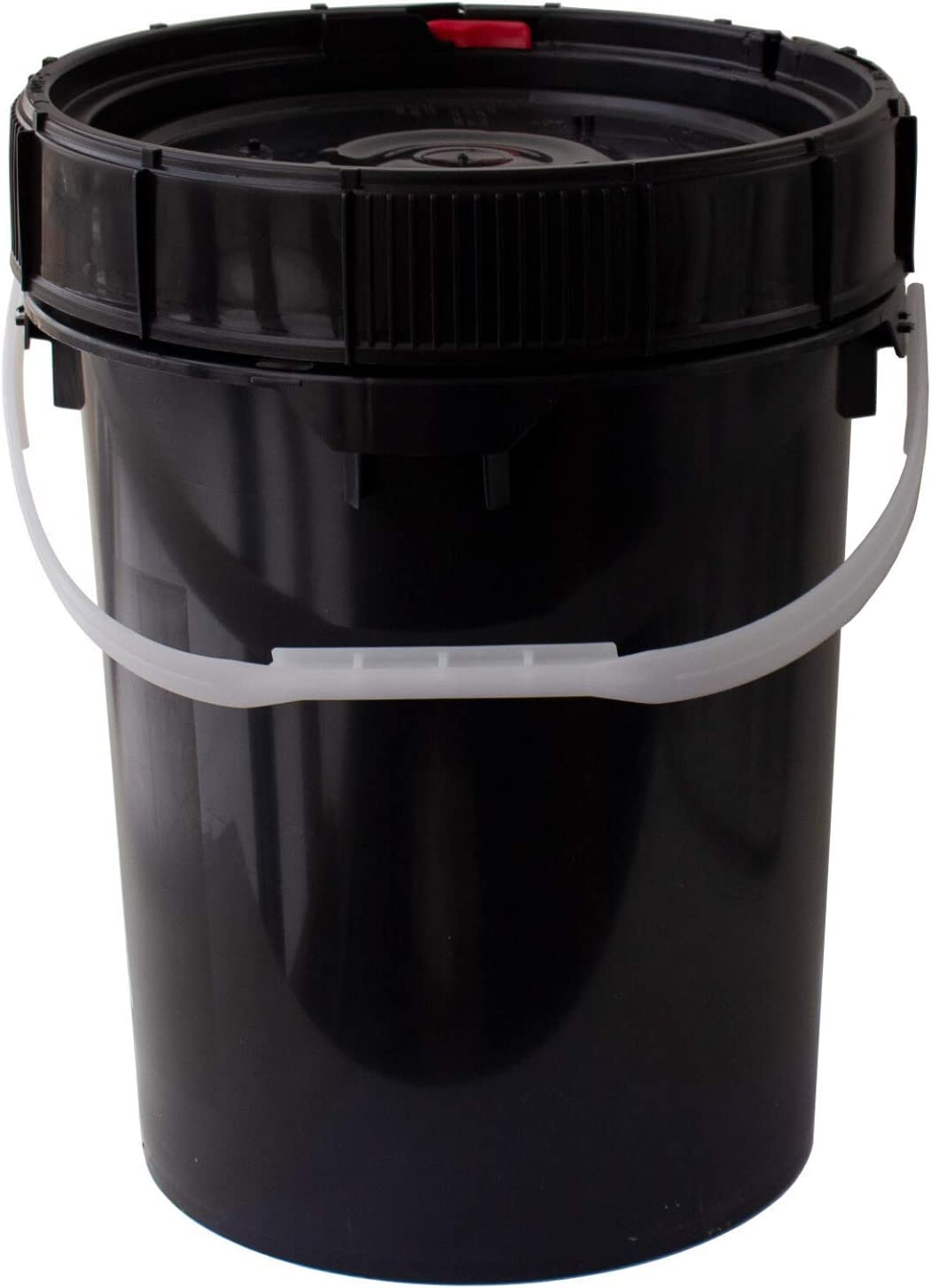 Screw Top Life Latch Bucket w/Easy Turn Ratcheting Lid – 5 Gallon – Black Quantity 1 – Spill Vak Branded – Air & Water Tight – Heavy Duty (90 Mil) – BPA Free, Food Grade – Stackable Storage Pail