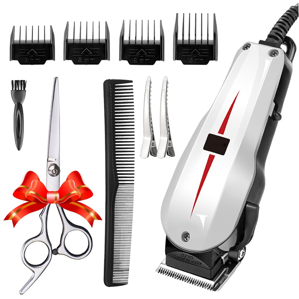Rantizon Mains Hair Clipper Set Professional Hair Cutting Kit for Men Skin-Friendly Blades Electric Hair Cutting Machine Precision Trimmer Multi Grooming Kit with Attachments Free Gift Scissors etc.