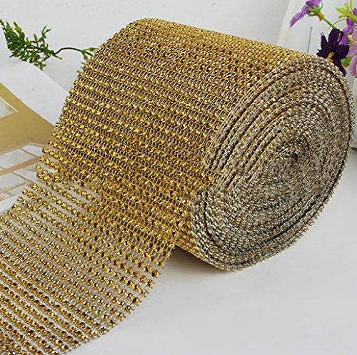 Wrisky Diamond Mesh Wrap Roll Cake Rhinestone Wedding Ribbon Favor Decor Party (Gold) ()