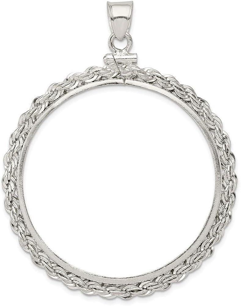 Sterling Silver 39.4 x 3.1mm 1 oz Sterling Silver Silver Town Rope Coin Bezel Pendant