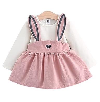 921cf8905c3b9 Amazon.com: Baby Girls Rabbit Style Long Sleeve Princess Flower Dress:  Clothing